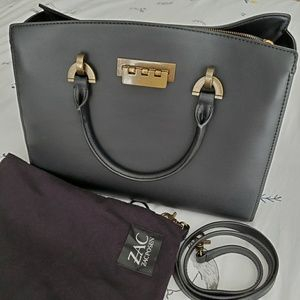 Zac Posen Black Leather Eartha Barrel Satchel Bag